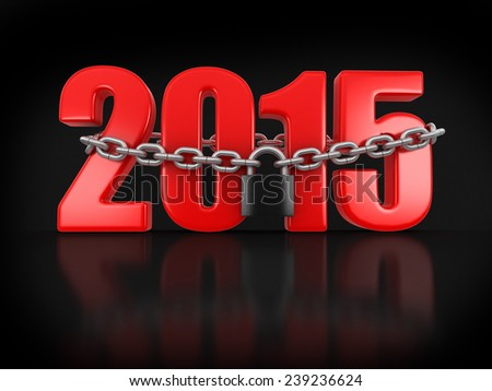 2015 and lock (clipping path included) - stock photo
