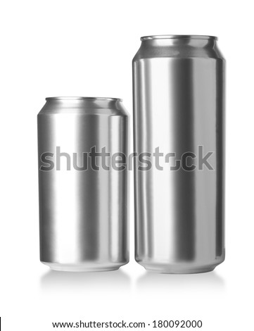 330 and 500 ml. aluminum cans, Realistic photo image - stock photo