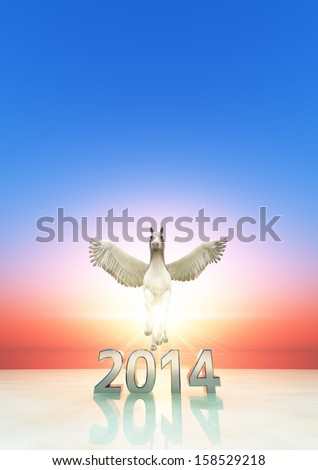 2014 and pegasus  - stock photo