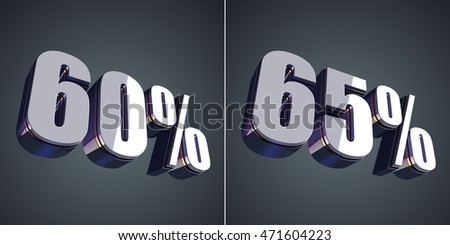 60 and 65 percent glossy symbol 3D rendering