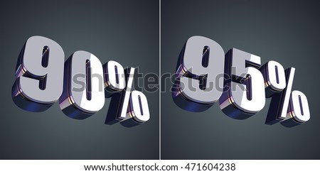 90 and 95 percent glossy symbol 3D rendering