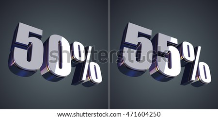 50 and 55 percent glossy symbol 3D rendering