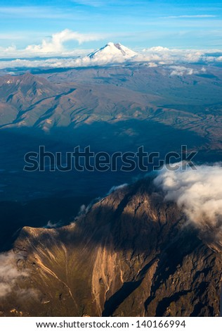 Andes. Ecuador. Cotopaxi, is the highest active volcano at 5.897 m. - stock photo