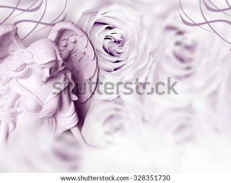angel with roses and copy space - stock photo