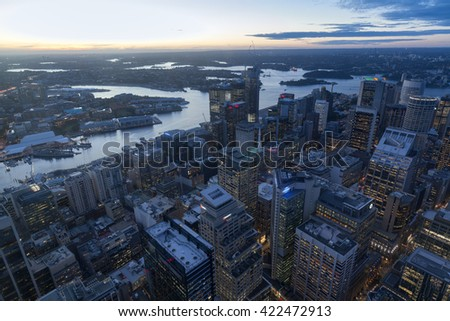 Angle Sydney Tower, the highest point of the city Sydney