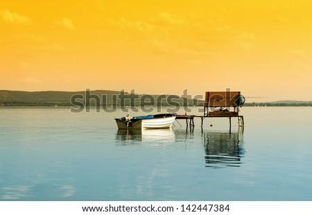 Angler pier at Lake Balaton, Hungary - stock photo