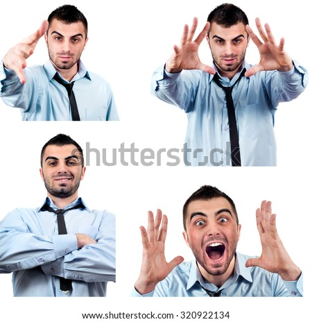 Angry and calm business man screaming out loud at someone, portrait of young handsome businessman, concept of executive yelling, conversation problem communication crisis,anger,frustration.Isolated - stock photo