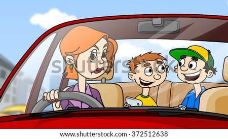 Angry woman driving the car, children sit and play on the backseat - stock photo