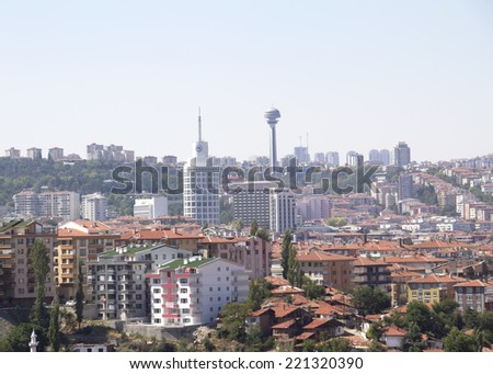 ANKARA, TURKEY - AUG 13: , city  of Ankara, Ankara is the capital city of Turkey on 13 August 2014, Ankara , it is the second most crowded city of Turkey, Atakule, symbol of Ankara in the wiev, - stock photo
