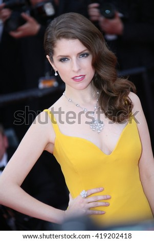 Anna Kendrick attends the 'Cafe Society' premiere and the Opening Night Gala during the 69th Cannes Film Festival at the Palais des Festivals on May 11, 2016 in Cannes, France. - stock photo