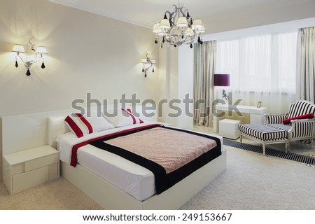 ?anoramic view of nice cozy bedroom