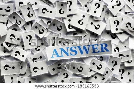 answer  of question marks on white papers -hard light