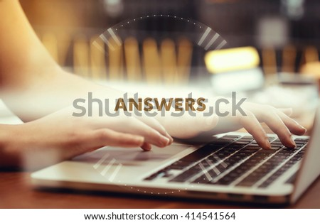 """"""" Answers """" Internet Data Technology Concept - stock photo"""