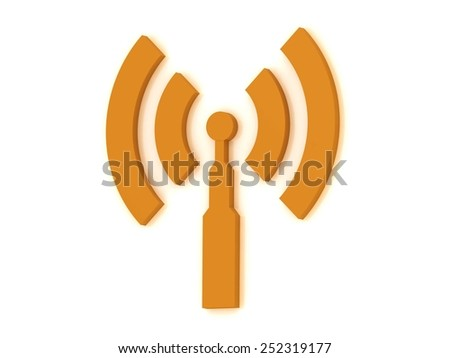 1 Antenna with 4 signals radio waves on white background