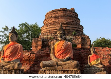 antique Buddha images in archaeological site of Thailand - stock photo