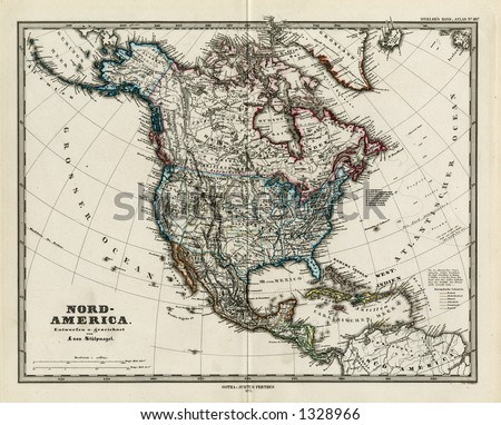 1872 Antique Map of North America Stieler Dark Version