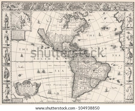 1626 Antique Map of North and South America - stock photo