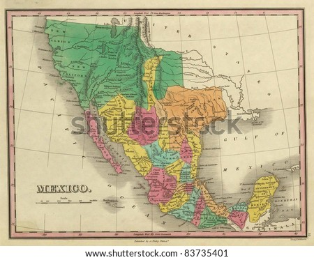 1831 antique map of Texas, California  and Mexico Out of copyright - stock photo