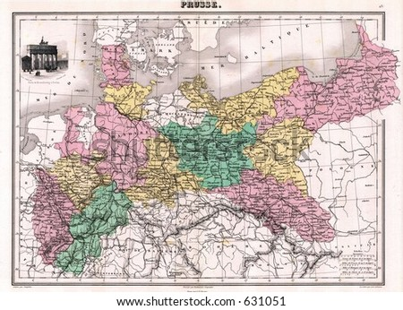 1870 Antique Map Prussia Germany
