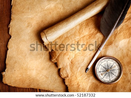 Antique paper scroll , quill pen and compass - stock photo