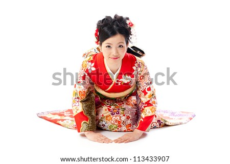 ?apanese kimono woman bowing on white background