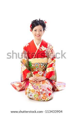 ?apanese kimono woman sitting on white background - stock photo