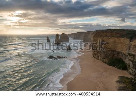 12 Apostles ,Twelve Apostles sunset. Great Ocean Road, Victoria, - stock photo