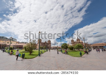 30 APR 2015 : Cusco City is a mix with Inca ruins wirh colonial architecture, Peru - stock photo