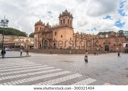 30 APR 2015 : Plaza de armas is a centerpoint of Cusco city, Peru