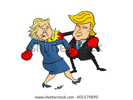 13 April, 2016: Donald Trump beating Hillary Clinton - stock photo