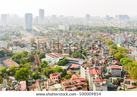 25 April, 2016 in Hanoi Vietnam: Aerial view of Hanoi skyline cityscape at daytime period, view DongDa district, Nguyen Chi Thanh Street
