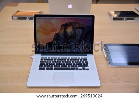 10 April 2015, Istanbul - Turkey: Macbook stand at the Apple store. MacBook is a brand of notebook computers manufactured by Apple Inc. - stock photo
