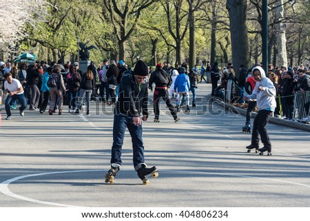 10-April-2016- Manhattan, NY- roller skaters in Central Park enjoy spring weather at skating party