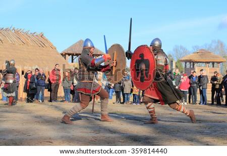 2015 April 18: Medieval warriors in battle. Slawutowo village, Pomerania region, Poland.  - stock photo