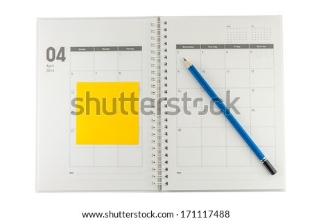 2014 April organizer with pencil & post-it. - stock photo