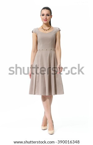 arabian asian eastern brunette business executive woman with straight hair style in coffee cream summer long dress high heel shoes standing full body length isolated on white - stock photo