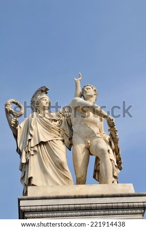Architectural detail of statue in Berlin, Germany - stock photo