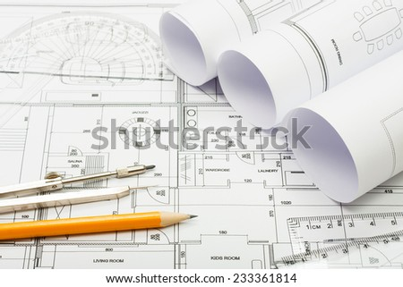 Architectural plans, pencil and ruler - stock photo
