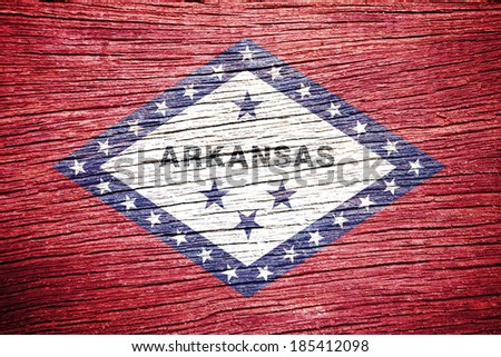 Arkansas State Flag painted on old wood texture  - stock photo