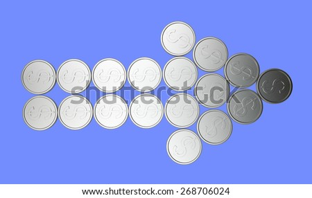Arrow of silver coins on blue background - stock photo