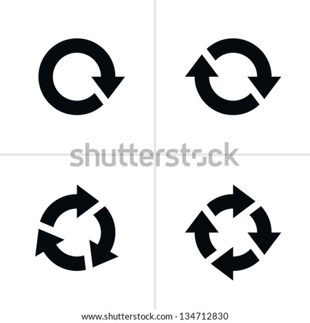4 arrow pictogram refresh reload rotation loop sign set. Volume 03. Simple black icon on white background. Modern mono solid plain flat minimal style. Image is a bitmap copy my vector illustration - stock photo