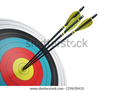 Arrows hitting the center of target - success business concept - stock photo