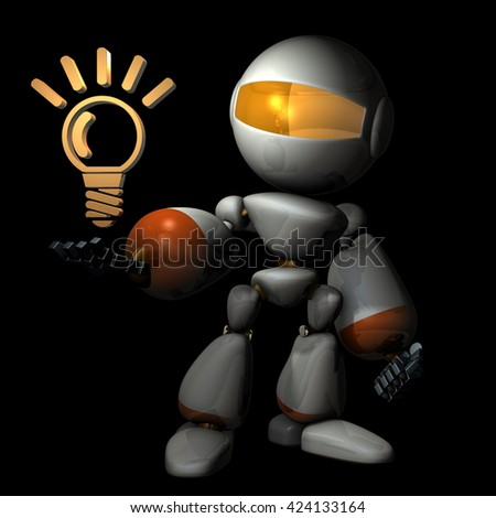 Artificial intelligence came up with something new ideas.3D illustration - stock photo