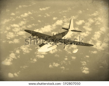 """(Artist's recreation) """"Aged Vintage style photo"""" of World War 2 vintage flying boat used by the allies as a scout and bomber. - stock photo"""
