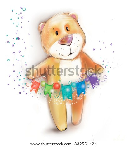 ?artoon bear  on a white background. New Year