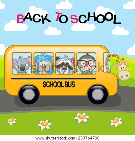 ��¡artoon school bus with animals - stock photo