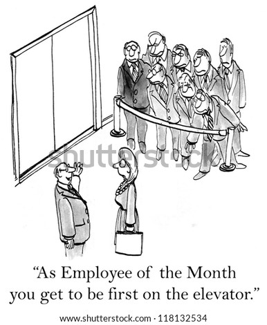 """""""As employee of the month you get to be first on the elevator."""" - stock photo"""