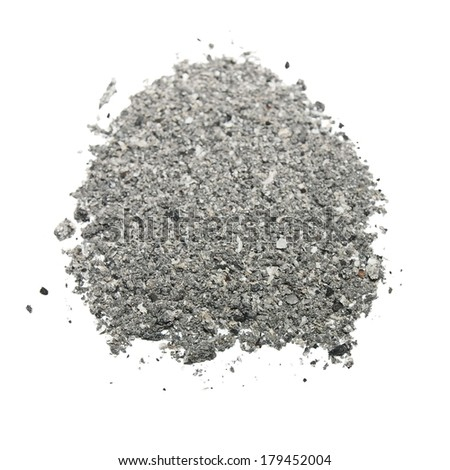ash isolated on white background, texture - stock photo