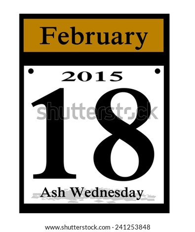 2015 ash wednesday calendar date icon - stock photo