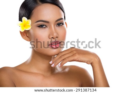 Asian beauty face closeup portrait with clean skin,  fresh elegant lady